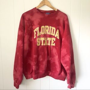 Champion Hand Bleach Dyed Florida State Crewneck
